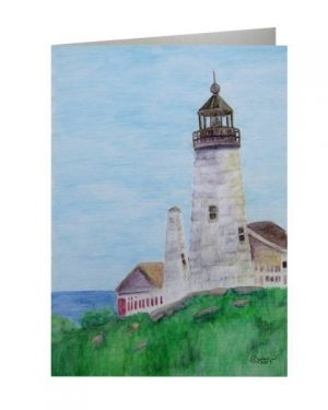 Card - Pemaquid Point Lighthouse - Folded Greeting Cards Of Watercolor Pencil Scenic Fine Art