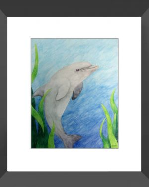 Framed Print - Dolphin - Framed Print Of Watercolor Pencil Aquatic Fine Art
