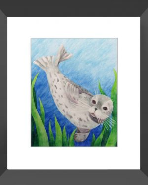 Framed Print - Harbor Seal - Framed Print Of Watercolor Pencil Aquatic Fine Art