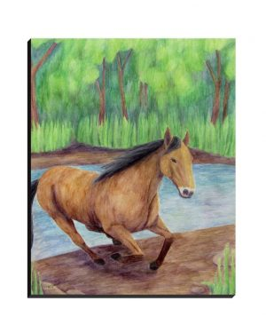 Wrapped Canvas - Horse - Wrapped Canvas Of Watercolor Pencil Equine Land Mammal Fine Art