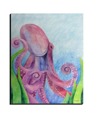 Wrapped Canvas - Octopus - Wrapped Canvas Of Watercolor Pencil Aquatic Fine Art